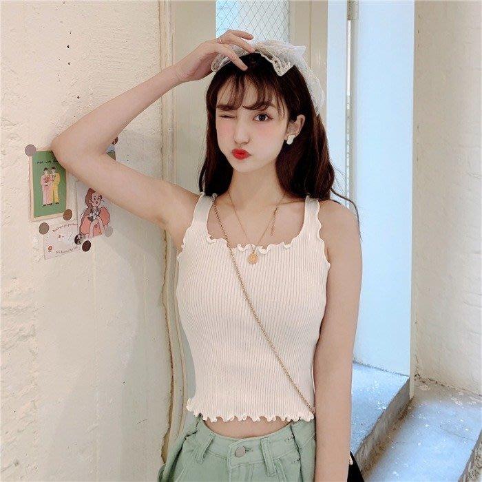 韓版 平口T恤 一字肩 木耳邊針織背心百搭顯瘦短款吊帶打底上衣女裝