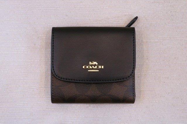 【遠麗】台北大安店~A8834 coach咖啡黑logo牛板前蓋6卡短夾 正品 /真品