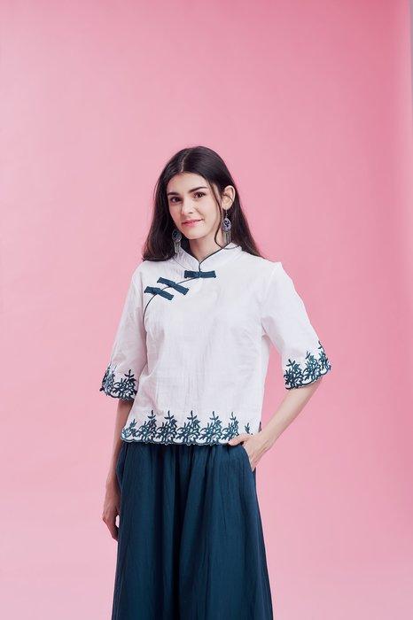 !!((中國藍Anewei))樟樹紋布蕾絲亞麻立領衫/茶人服~L.XL.XXL~另有綠圓裙整套1099+1099免運