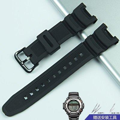錶帶 手錶替換鏈 樹脂橡膠 表帶 代用卡西歐SGW100系列男手 表帶 3157 SGW-100