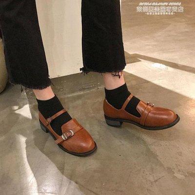 娃娃鞋日繫復古女粗跟單鞋學生原宿圓頭娃娃鞋學院風英倫軟妹方跟小皮鞋