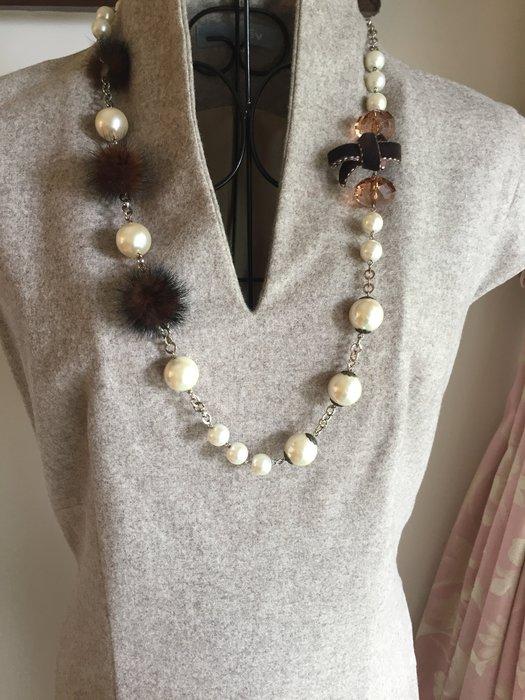ET VOUS 法國品牌 - 氣質高貴名媛風修身顯瘦設計 - 淺咖啡色V領洋裝 (促銷商品)
