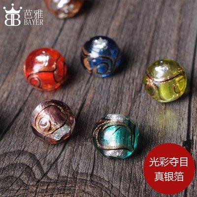 買多有優惠-透明銀箔金沙琉璃珠子條紋圓...