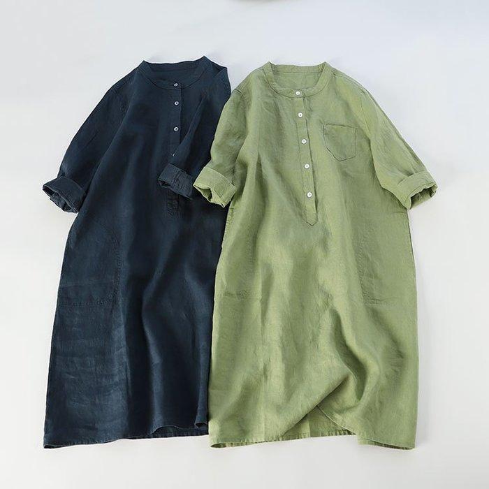 【子芸芳】全亞麻~中袖立領襯衫裙 日系文藝 連衣裙