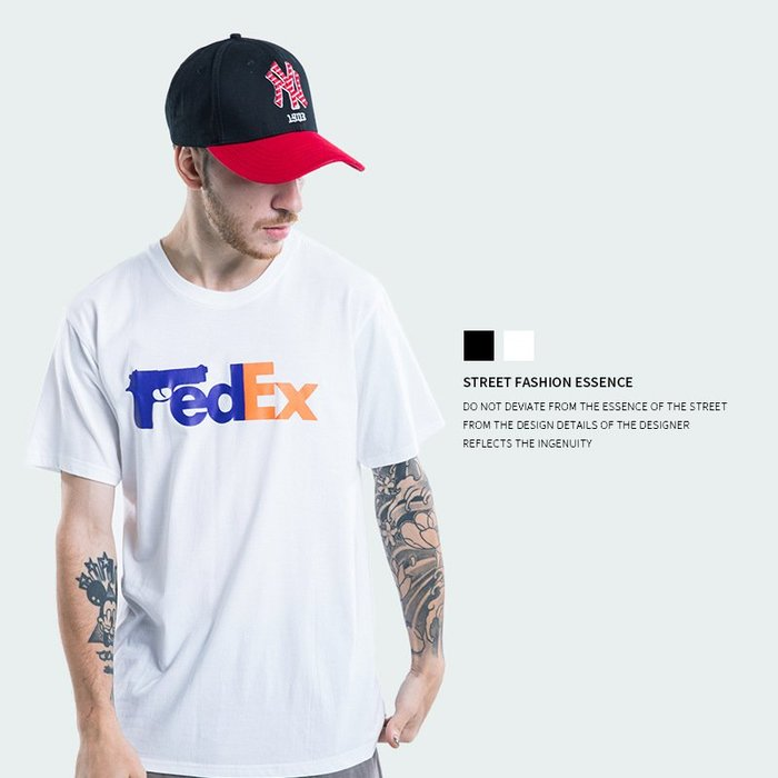 TST- Fedex 標誌 寬鬆 大尺寸 oversize 落肩五分袖 短袖T恤 短T 情侶款美式西岸