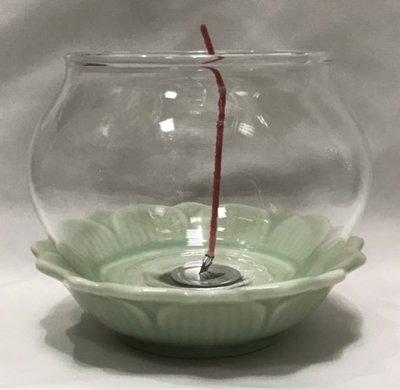 【弘真宗教文物】青瓷玻璃油燈杯組(矮)+10元換成佛字油燈杯