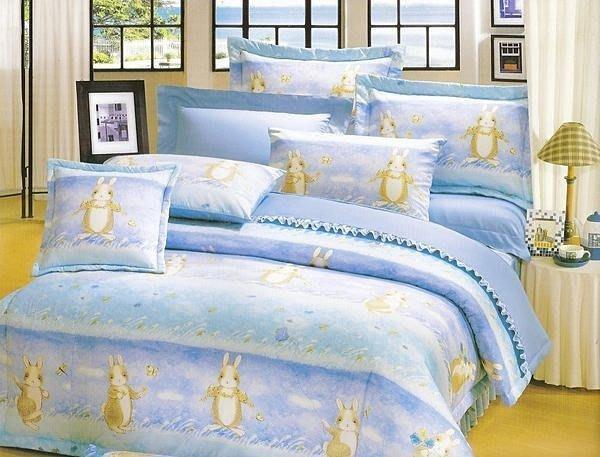 純棉床包【田園兔】雙人床包三件組(不含被套),100%精梳純棉