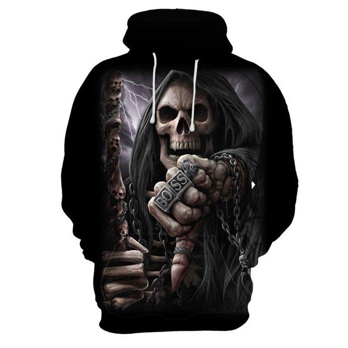 『潮范』  N4 外貿新款長袖T恤 3D數碼印花骷髏圖案T恤 連帽衛衣 連帽T恤 套頭衫