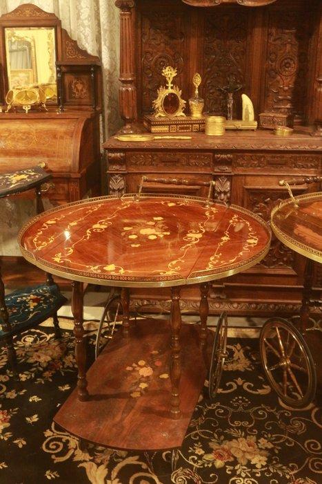【家與收藏】特價稀有珍藏歐洲古董義大利古典優雅手工lnlay鑲嵌木拼花銅浮雕餐車/推車6