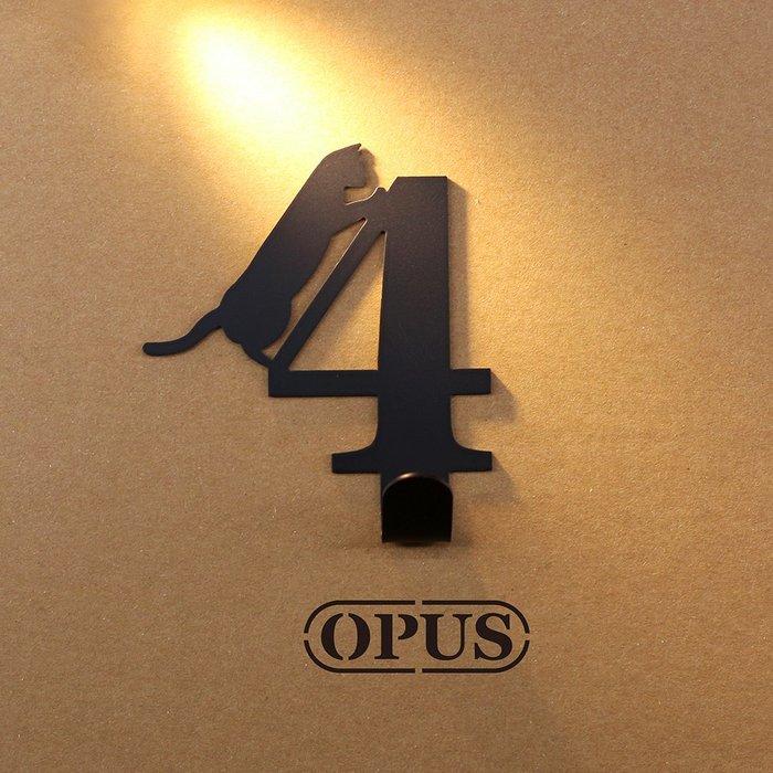 當貓咪遇上數字4《經典黑》壁飾掛勾 造型無痕掛鉤 居家收納 牆面裝飾壁掛【OPUS東齊金工】HO-nb12-4(B)