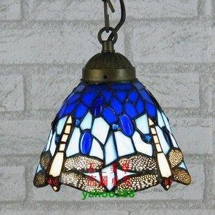 【美學】飄窗酒柜玄關小蜻蜓吊燈地中海藍色彩色玻璃(小號)MX_1782
