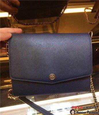 美國大媽代購 TORY BURCH 美國輕奢時尚 新款深藍色鍊條風琴包 肩背包  美國代購