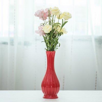 爆款簡約歐式陶瓷紅色花瓶干花插花結婚房間桌面客廳裝飾品小擺件禮物#簡約#陶瓷#小清新