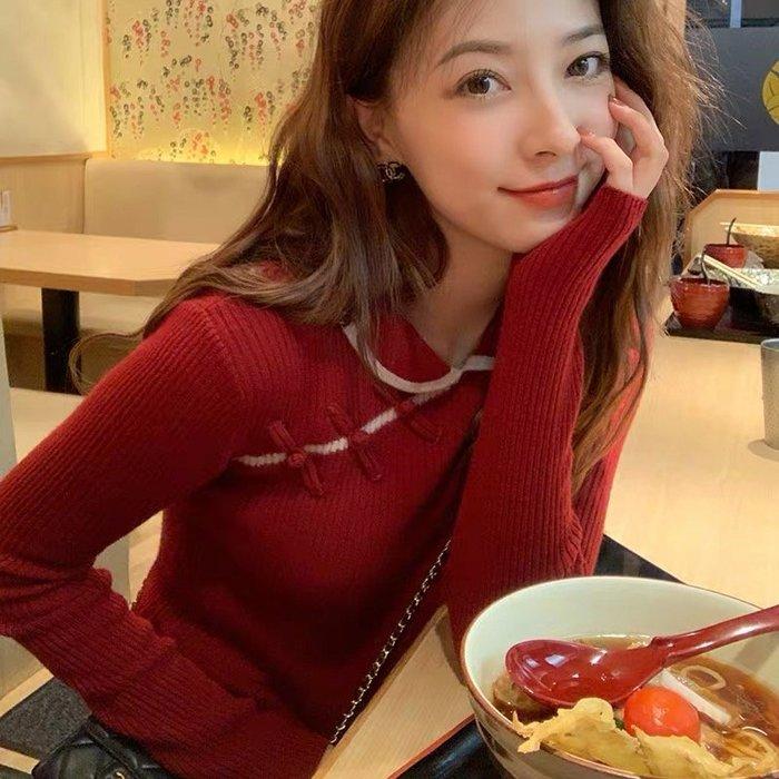 *Angel  Dance*新年紅🎈長袖洋裝(3色)@韓國 娃娃領 改良旗袍風 盤扣 收腰 針織 毛衣@現貨+預購