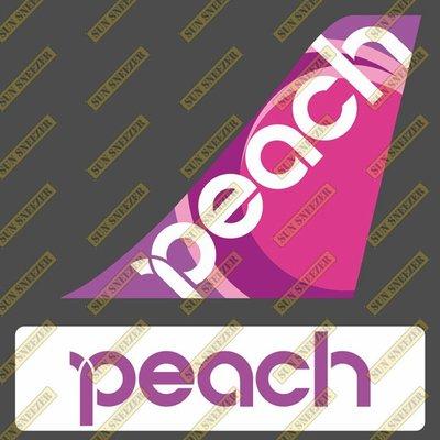樂桃航空 Peach Aviation 垂直尾翼與機身商標 貼紙  尺寸上63x86mm 下 23x90mm