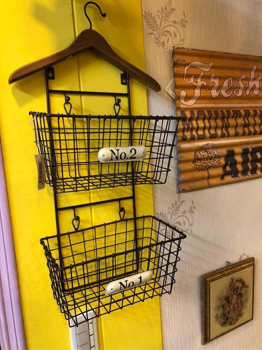 齊洛瓦鄉村風復古衣架鐵製雙層收納籃