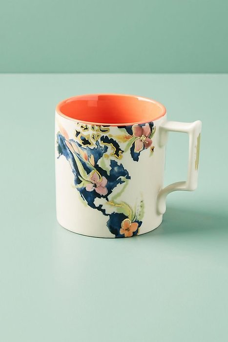 美國鄉村Anthropologie 美國地圖花朵圖騰馬克杯 Whitney Winkler Home State Mug