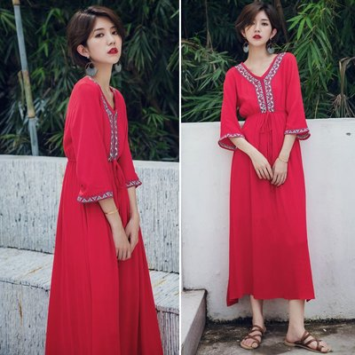 【Strawberry】紅色沙灘長裙波西米亞V領刺繡民族連衣裙海邊度假泰國情裙子