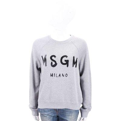 🔥現貨🔥 【MSGM】SCOOP NECK 經典油漆塗鴉Logo 人氣款 灰色字母棉質運動衫