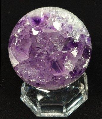 柏晶 烏拉圭大角紫全晶體開口笑紫水晶球(含壓克力底座) #281