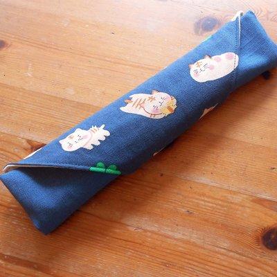 手作餐具袋 餐具袋訂做 糯米糰子貓   番玉手作