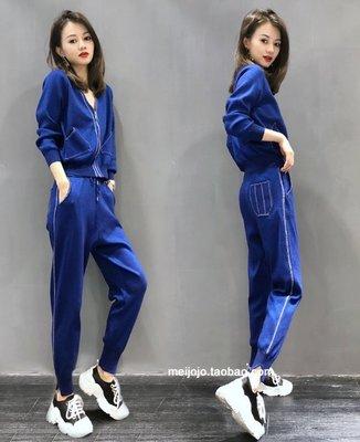 時尚搭配 上衣 褲子 8116歐洲站針織休閒運動服套裝女春秋裝新款時尚洋氣兩件套歐貨T125