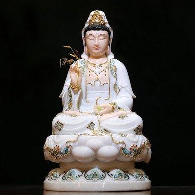 【敬佛堂】漢白玉佛像 西方三聖 南無觀世音菩薩 觀音菩薩 法像莊嚴(GA-4167)
