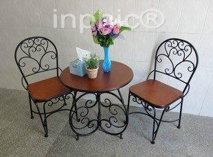 INPHIC-歐式鐵藝桌椅 簡約 木板餐椅 休閒椅子餐桌椅