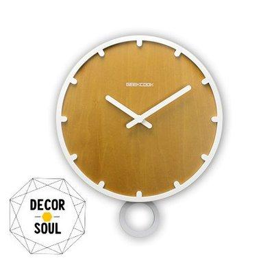 DS北歐家飾§ 原創GEEKCOOK 原木歐式鐘擺壁掛鐘 30CM時鐘 工業風創意造型設計時尚家居鐘錶靜音機芯現代簡約風