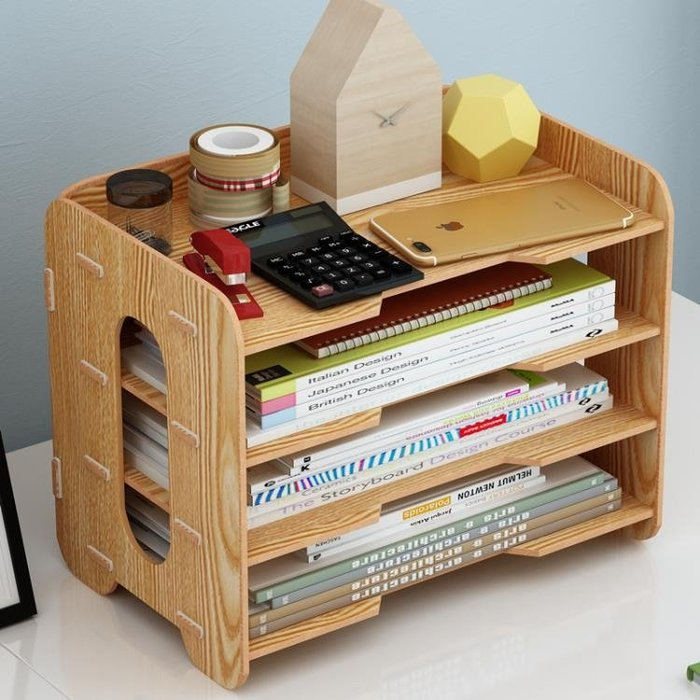 辦公用品收納盒桌面木質文件框資料置物架多層書架檔案a4紙整理盒YS