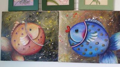 玉兒園彩繪~帆布畫,純手繪仿油畫畫法,年年有魚,居家布置無框畫