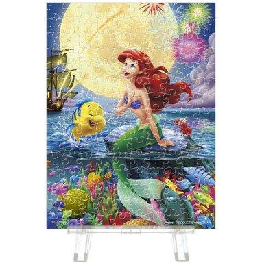 日本正版拼圖 迪士尼 公主 小美人魚 愛麗兒 小比目魚 月光下 150片迷你透明塑膠拼圖 2308-03