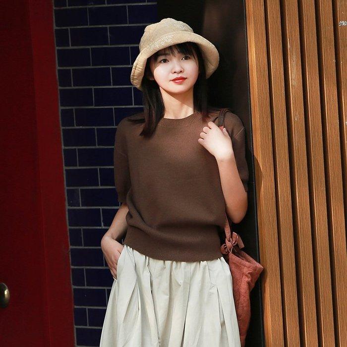 【鈷藍家】棉麻臆想 文藝羊毛混紡短袖織物鳴意秋季新品咖啡色柔軟針織圓領五分袖毛衣