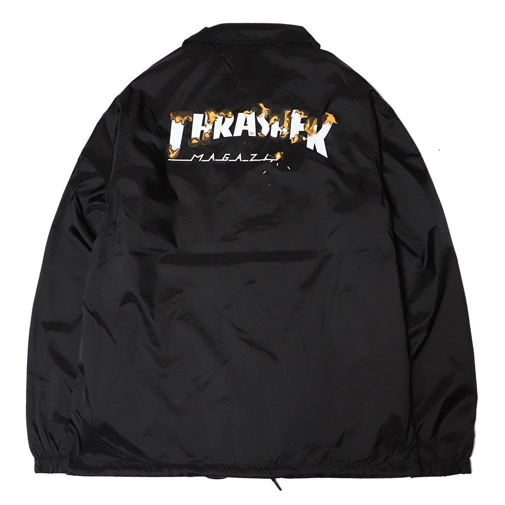 【QUEST】THRASHER INTRO BURNER - 日線 燒焰LOGO教練外套