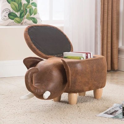 小象木製坐墩脚踏儿童换鞋凳储物拆洗款多顏色可選
