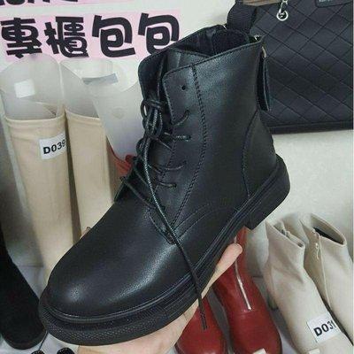 ☆╮街頭教主。2020必買正韓空運個性升級全真皮後雙拉鍊馬丁靴 短靴 軍靴