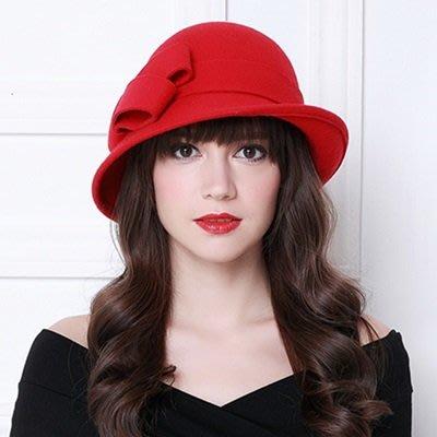 羊毛呢帽 禮 帽-英倫復古優雅蝴蝶結女帽子2色73tk42[獨家進口][米蘭精品]