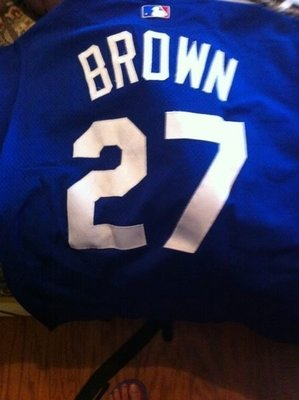 MLB LA DODGERS ACE #27 BROWN GAME USED BP JERSEY SIZE:48