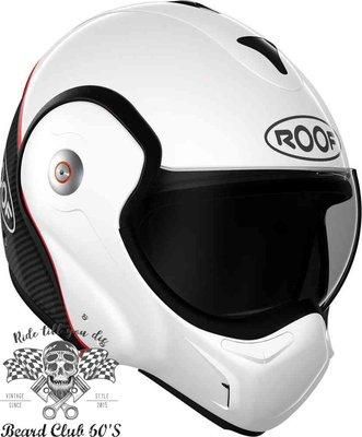 ♛大鬍子俱樂部♛ ROOF® Boxxer Carbon 法國 復古 碳纖維 街車 多功能 掀蓋 全罩 安全帽 白色