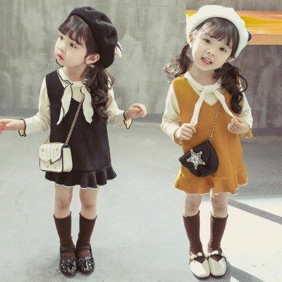 童裝女童套裝針織新款中小兒童寶寶春秋洋氣時髦兩件套潮