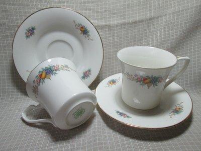 日本皇家瓷器 Noritake RC 鳴海 金邊優雅 花果 咖啡杯盤 對杯 花茶對杯 2組 G117