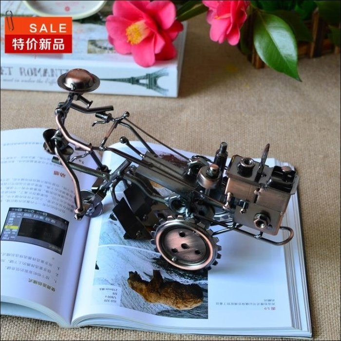 復古鐵藝拖拉機金屬模型擺設創意書桌家庭家居裝飾工藝品書架擺件