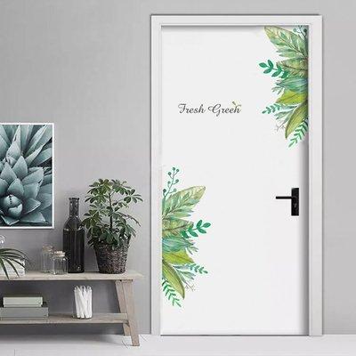 [P1833]清新綠葉防水牆貼紙自粘門貼壁貼裝飾可移除