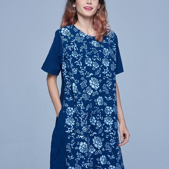 !中國藍Anewei藍染三色玫瑰洋裝-F-另有三色蝴蝶