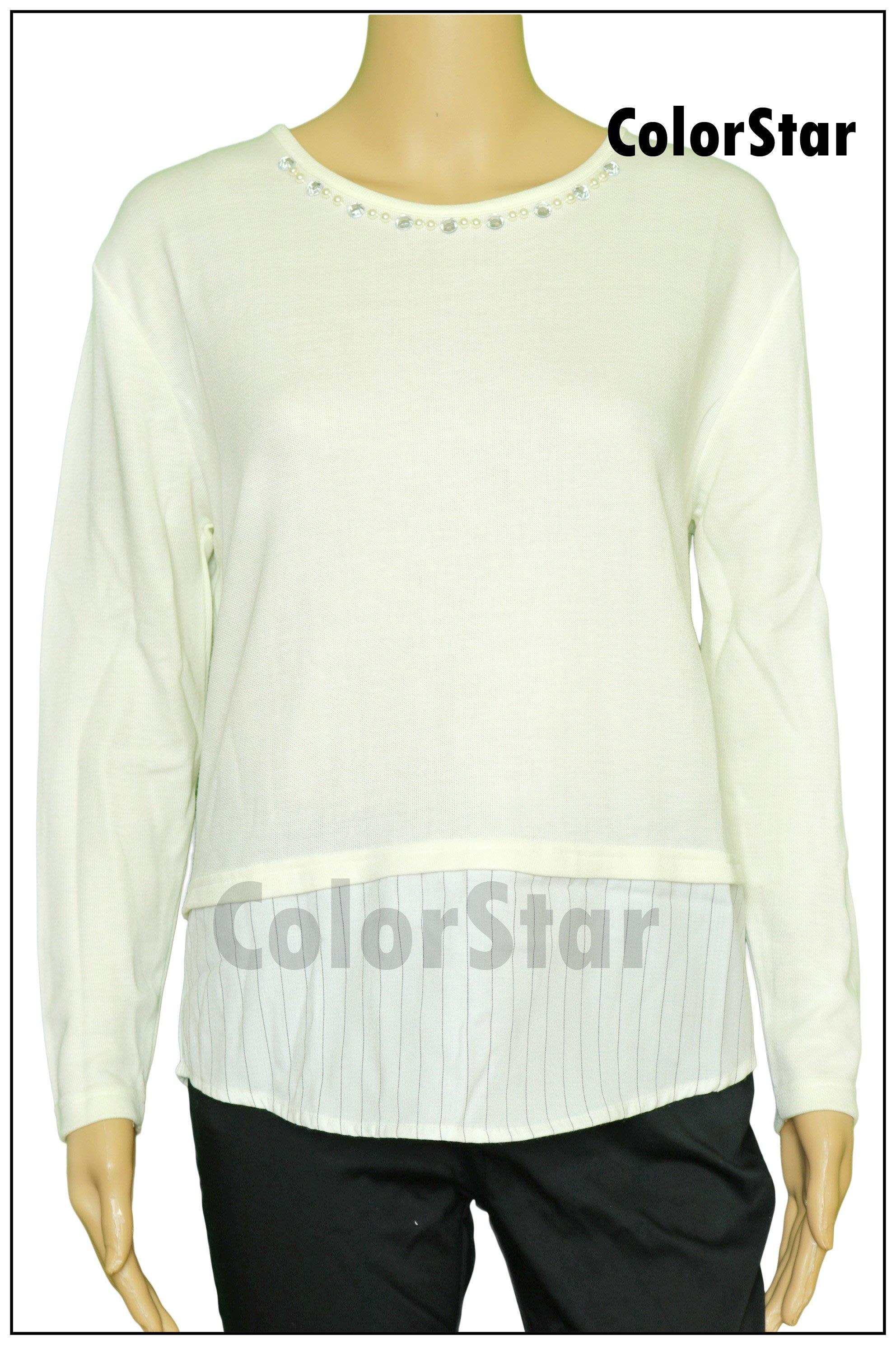 [ColorStar] 日本帶回 NICE CLAUP 米白色 長袖 縫珠珠 上衣,適合各種場合組合穿搭好選擇,別錯過