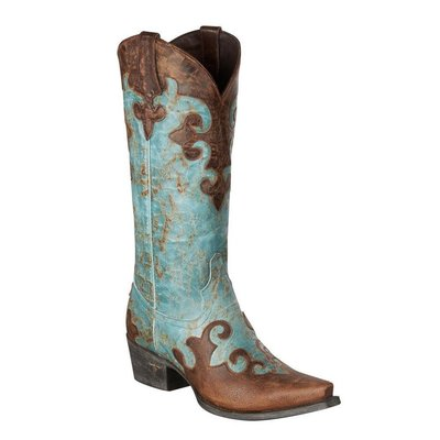 【幫你買】女靴 Lane Ladies Turquoise & Brown Overlay Dawson Cowgirl Boots LB0023A
