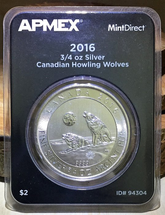 2016 Canada Howling Wolves 嚎叫狼銀幣 (3/4 toz)