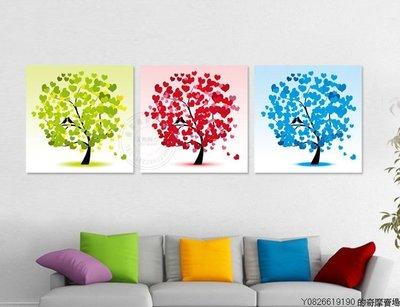 【厚2.5cm】【30*30cm】幸福愛心樹裝飾畫無框畫客廳現代簡約臥室餐廳【220110_0338】3聯畫