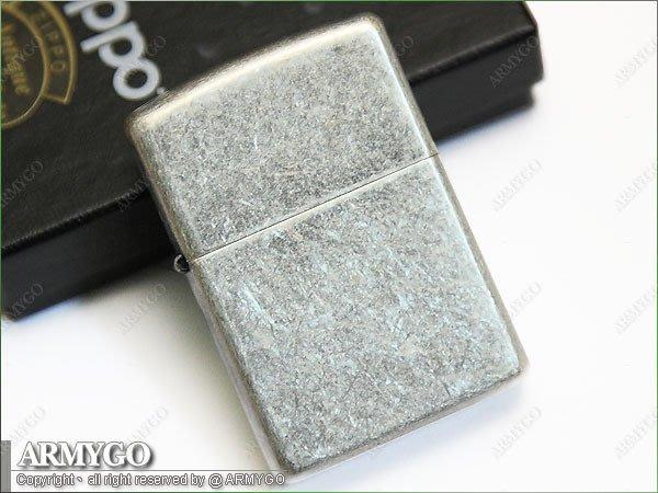 【ARMYGO】ZIPPO原廠打火機-No.121FB-Antique Silver 仿古鍍銀款
