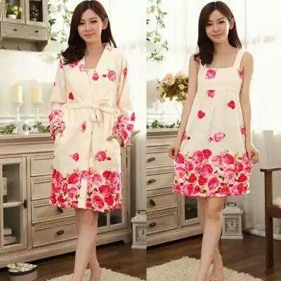 粉紅玫瑰精品屋~冬季法蘭絨水貂絨玫瑰長袖睡衣~二件套